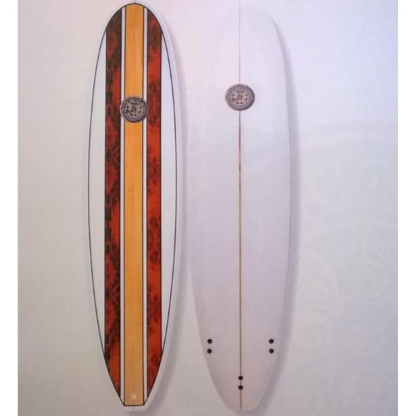 "Hawaiian Soul 7'6"" Mini Mal.  Inc. Fins"